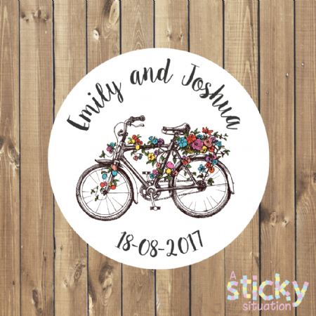 Personalised Wedding Favour Stickers - Vintage Floral Bicycle Design